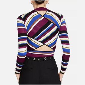 RACHEL ROY Striped Back Cutout Mock Neck Sweater
